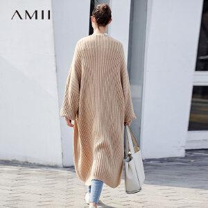 【大牌清仓 5折起】Amii[极简主义]时尚坑条纹毛衣外套女2017冬季新蝙蝠袖针织上衣