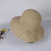 夏季可折叠度假遮阳草帽拉菲草手工渔夫盆帽女士大沿防晒太阳帽子 M(56-58cm)