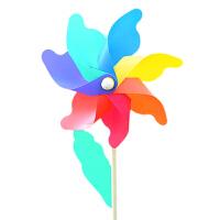 风车玩具七彩户外防水木棒塑料 幼儿园装饰大号彩色儿童风车