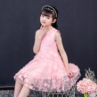 女童连衣裙夏装 儿童大童公主裙子 小女孩粉色背心无袖网纱群