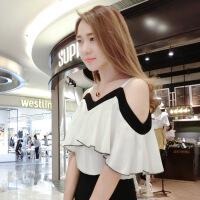 短袖女2018新款性感露肩夏季雪纺衫白色宽松超仙一字肩气质上衣