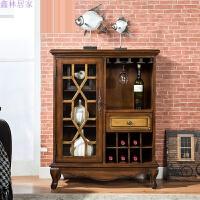美式乡村实木红酒柜欧式简约餐边柜客厅装饰展示柜玄关隔断柜 图片色 单门