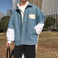 2018春季男士假两件夹克韩版宽松牛仔拼接印花学生外套