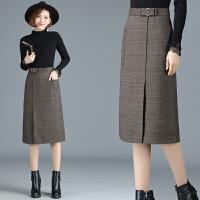 秋冬装新女装半身裙子高腰显瘦格子一步裙包臀裙春秋季百搭中长裙