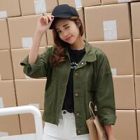 春秋新款牛仔外套女复古立领短款糖果色BF韩版学生棒球服夹克开衫