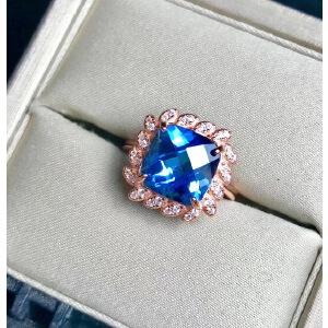 纯天然瑞士蓝托帕戒指、精工镶嵌!爆闪