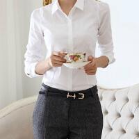 春秋新款白色衬衫女长袖女士职业装修身打底衣工作服韩版雪纺衫 白色