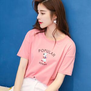 夏季新品韩版宽松百搭棉字母卡通刺绣短袖T恤女装上衣