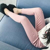 女童打底裤春秋季外穿薄款修身长裤儿童秋装女孩纯棉白色破洞裤子