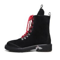 新款秋冬明星同款真皮马丁靴系带粗跟短靴时尚百搭女鞋