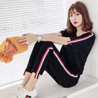 运动服套装女夏时尚潮2018新款韩版宽松短袖七分裤长裤休闲两件套