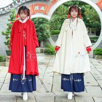 中国风汉元素复古绣花毛呢斗篷披风外套日常古装加厚茶人服女