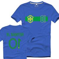 巴西足球世界杯短袖T恤西甲巴萨巴塞罗那内马尔10号队服 XX