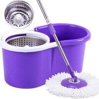 普润 紫色款金属篮双驱动如意金箍拖把 旋转好神拖 两个拖把头
