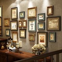 实木照片墙相框墙创意美式复古客厅电视挂墙背景墙装饰画