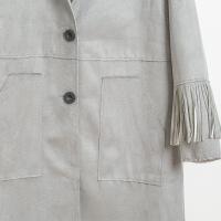 2017春季新款女装外套灰色麂皮流苏欧美风格长款女风衣大衣 灰色