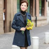 时尚中老年女装秋装新款长袖风衣韩版中年妈妈装中长款绣花外套 藏青色