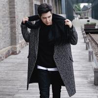 冬季男装毛呢大衣男士尼大衣潮流外套千鸟格时尚中长款款男式风衣 千鸟格