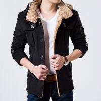 冬季新款男士加厚加棉风衣 时尚韩版修身中长款羊绒大衣外套潮男 黑色(加厚保暖) 170建议120斤以下