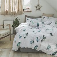 家纺全棉床单被套被罩四件套纯棉小清新田园北欧式1.5m床上用品4件套 1.5/1.8m(被套200x230cm)