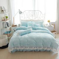 家纺韩式加绒床单被套珊瑚绒四件套1.8m加厚保暖法兰绒床上用品公主风