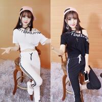 新款宽松韩版性感街舞嘻哈表演套装学生跳舞蹈练功服爵士舞服装女