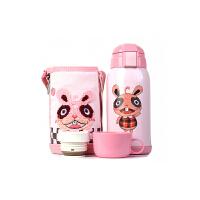 【限时秒杀】杯具熊(BEDDYBEAR)儿童保温杯带吸管316不锈钢双盖保温壶630ml 3D版-粉色兔子