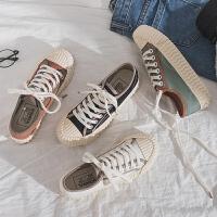饼干鞋时尚ins潮网红帆布鞋女学生夏款新款百搭潮流平底板鞋