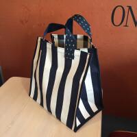 新品帆布袋文艺蓝白条纹防水购物折叠收纳袋大容量手提妈妈包 其他