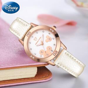 迪士尼手表女学生防水中学生初中时尚少女儿童手表女孩女童石英表W