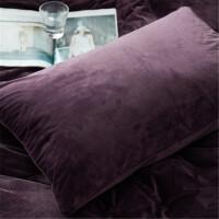 深紫色天鹅绒枕套加厚磨毛法兰绒枕套一对48*74枕头套法莱绒枕套 深紫色 一对 48cmX74cm