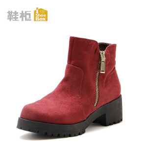 达芙妮旗下鞋柜秋冬短靴女气质绒面百搭侧拉链中跟短靴-1