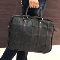 韩版大方格子商务旅行包潮男士手提包休闲包英伦风单肩斜挎包男包 黑色