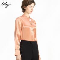 LILY春款女装气质通勤锻面宽松直筒立领长袖衬衫雪纺衫8967