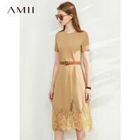 【券后预估价:144元】Amii极简镂空蕾丝拼接连衣裙2020夏新款罗马布显瘦中长T恤裙