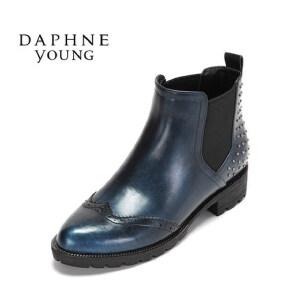 【9.20达芙妮超品2件2折】Daphne/达芙妮冬布洛克低跟女鞋 潮流铆钉粗跟短靴1516605025