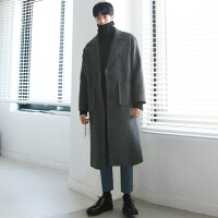 冬季羊绒大衣男韩版长款双面羊绒大衣男士毛呢外套宽松大翻领加厚 (加棉)