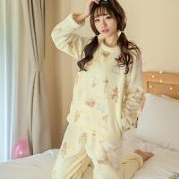 秋冬季加厚可爱法兰绒长袖套头套装睡衣珊瑚绒冬天女款女士女式