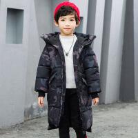 中小童时尚迷彩童装加厚手塞棉潮流中长款大口袋男童连帽棉衣 迷彩