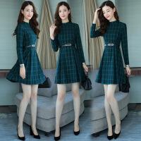 格子潮流休闲时尚气质清纯甜美优雅高腰年春季长袖连衣裙 绿色