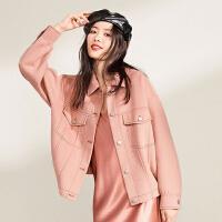 太平鸟双面呢大衣女装2019冬季新款纯色长袖短款工装风上衣女宽松