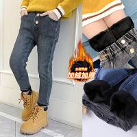 女童裤子加绒外穿冬季儿童长裤洋气女孩一体绒牛仔裤