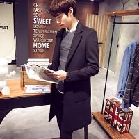 冬季男士风衣韩版修身毛呢大衣男中长款加棉加厚冬装男装呢子外套