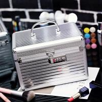 化妆包大容量多层专业大容量收纳铝合金化妆包美甲工具手提化妆箱护肤品多层