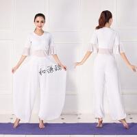 舞韵瑜伽服舞蹈套装女白色飘逸性感喇叭袖演出服时尚网纱雪纺裤