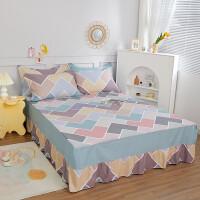 伊迪梦家纺 全棉单品床裙 纯棉单件床罩式床单 高支高密斜纹印花床上用品单人双人床HC338