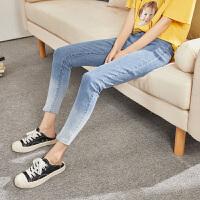 【2件2.5折】唐狮2019牛仔裤女春秋韩版显瘦九分裤紧身小脚裤渐变