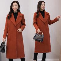 毛呢大衣女2017冬季新款韩版西装领修身显瘦中长款气质呢外套