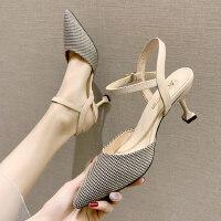 户外包头凉鞋女细跟尖头性感高跟鞋百搭仙女风一字带女鞋