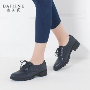 Daphne/达芙妮正品女鞋 秋季低跟鞋舒适尖头系带深口女单鞋